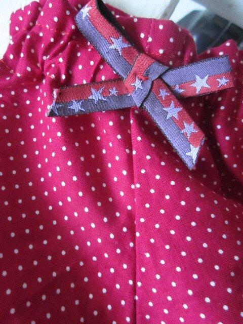 Culotte BIANCA en coton rouge hermès à petits pois blancs et noeuds assorti (4)
