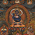 A blackground thangka of panjarnata mahakala, central tibet, 18th century