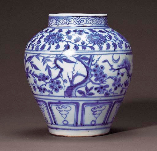 A fine and rare blue and white 'Three Friends of Winter' jar, Yuan dynasty (1279-1368)