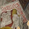 Saint Engrâce : chapiteaui de l'église représentant la Rein de Saba et le roi Salomon (64)