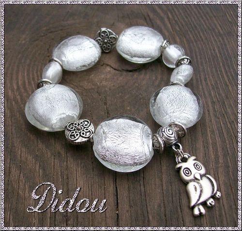 Bracelet perles galets argentés