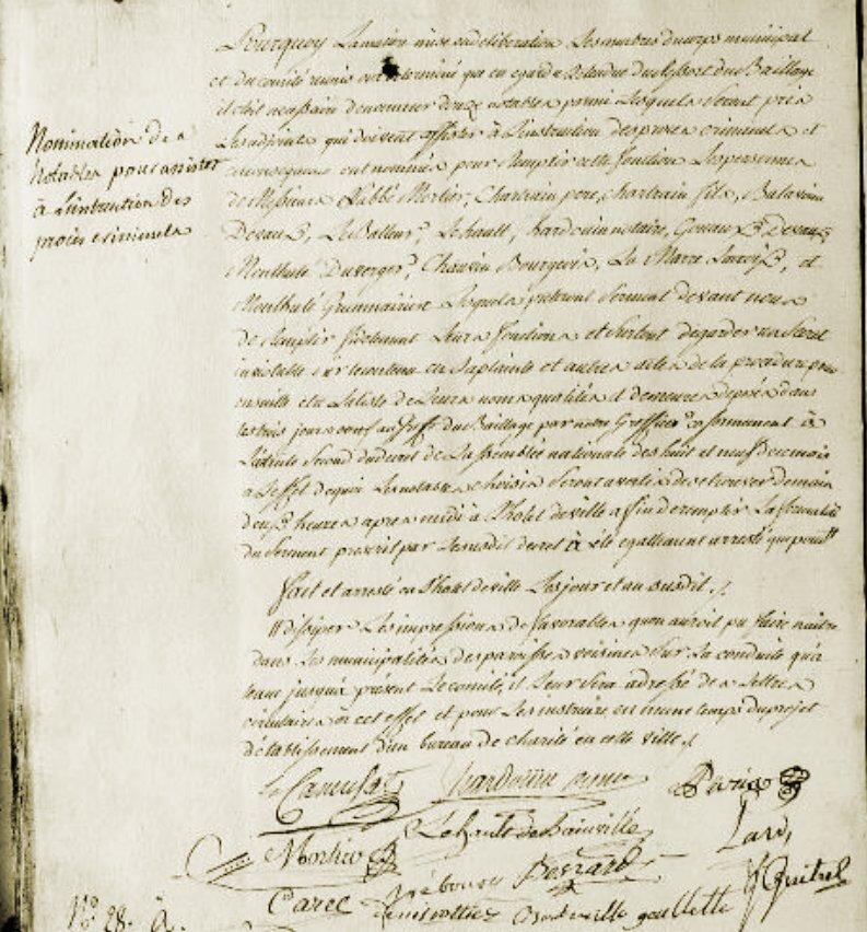Le 28 octobre 1789 à Mamers : nomination d'adjoints à l'instruction des affaires criminelles.