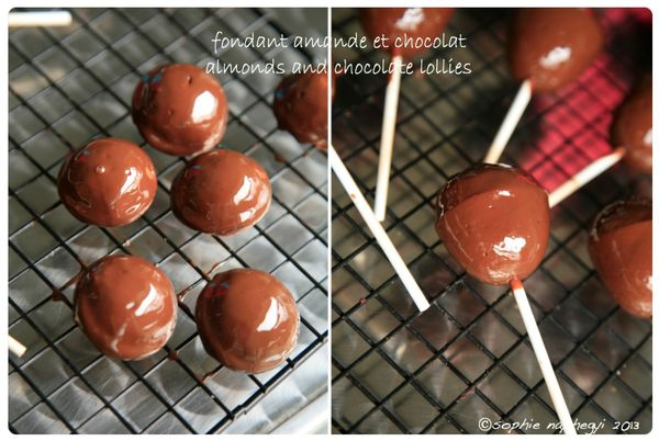 a almond and choco lollies