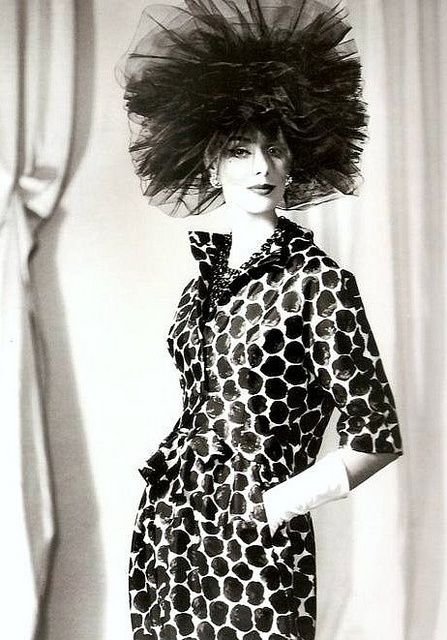 Silk printed suit and black tulle hat by Balenciaga, photo by Tom Kublin, 1960