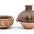 Two early painted pottery vessels, neolithic period, gansu-yangshao culture