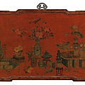 A rare large 'qiangjin' and 'tianqi' lacquer 'hundred antiques' panel, qing dynasty, kangxi period (1662-1722)
