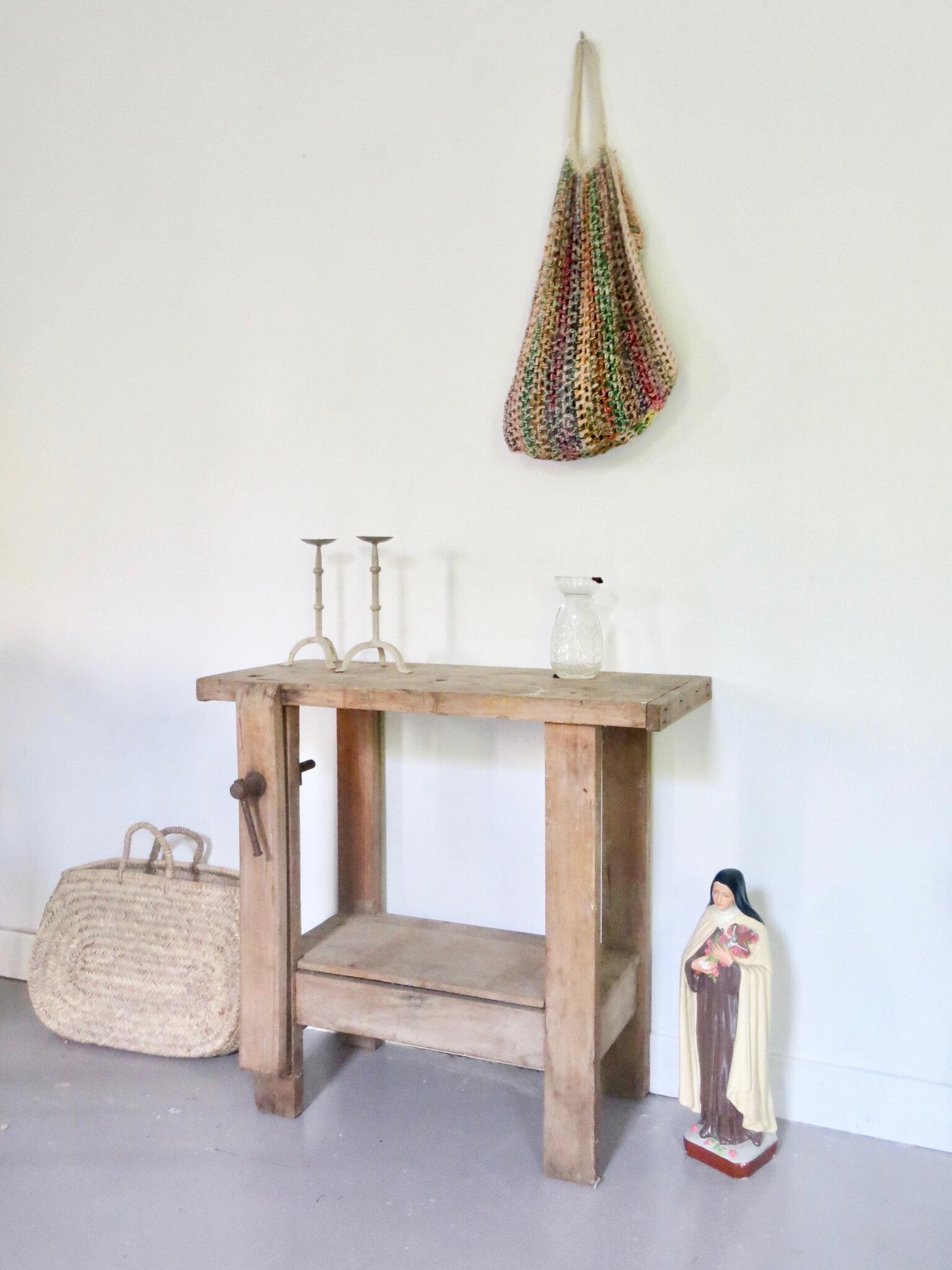 Petit Etabli Bois Ancien ancien etabli bois brut - meubles vintage pataluna chinés