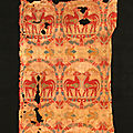 Samitum-woven silk with confronted deer in medallions, central asia, 7th-8th century
