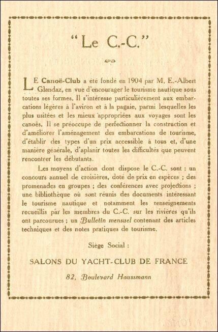 canoë club soirée du 20 12 1912 but du C