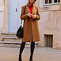 Look look look #red knit and camel coat