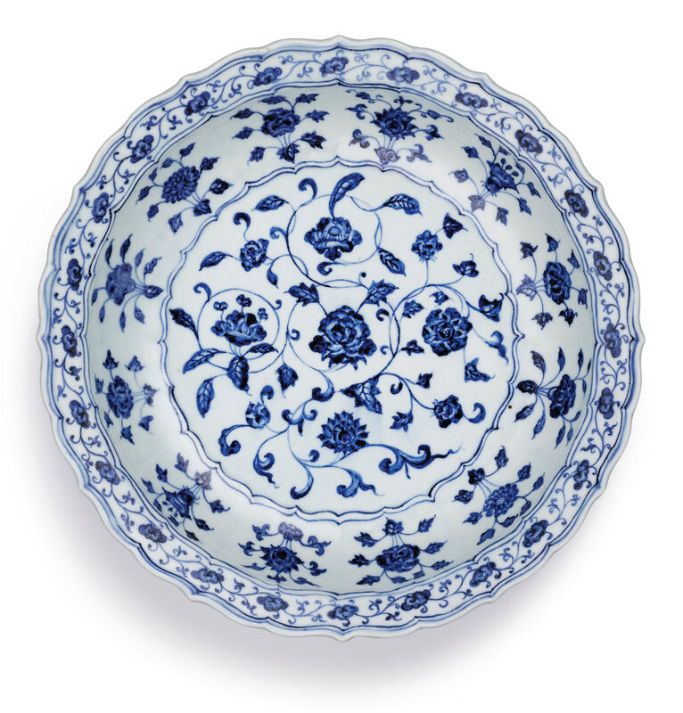 A finely painted blue and white 'floral' charger, Ming dynasty, Yongle period (1403-1425)