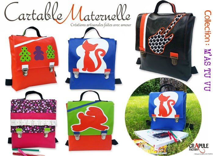 Cartable maternelle Nouvelle collection : Pop, vintage, retro, garçon fille chat, lapin, rock guitare, froufrou fleur, poupée. Super coloré COLLECTION :