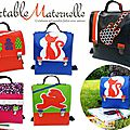 cartable maternelle original coloré de créateur nouvelle collection : pop vintage retro garçon fille chat lapin rock guitare