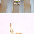 Bague AIGLE Royal Email Blanc et Bleu Métal Couleur Doré Ajustable