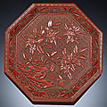 A carved cinnabar lacquer 'magnolia' tray, mid ming dynasty