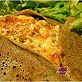 Galettes aux lardons et oeufs brouillés (à la farine de sarrasin et de riz complet)