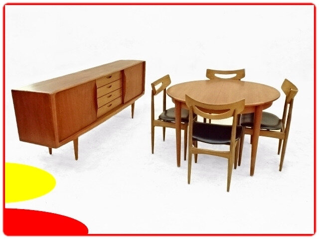 Salle à manger Samcom Danemark teck 1950 Chaise table enfilade