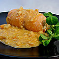 Ballotine de saumon sauce aux crevettes