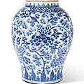 A blue and white 'peony scroll' vase, qing dynasty, 18th century