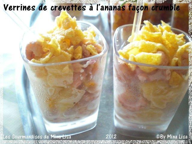 verrines de crevettes à l'ananas façon crumble