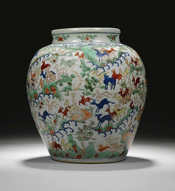 A wucai 'hundred deer' vase