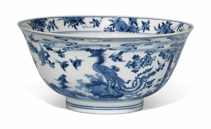 A blue and white 'Hundred Birds' bowl, Kangxi period (1662-1722)