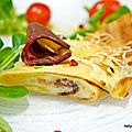 Crêpes salées aux fromages raclette/gruyère et magret de canard