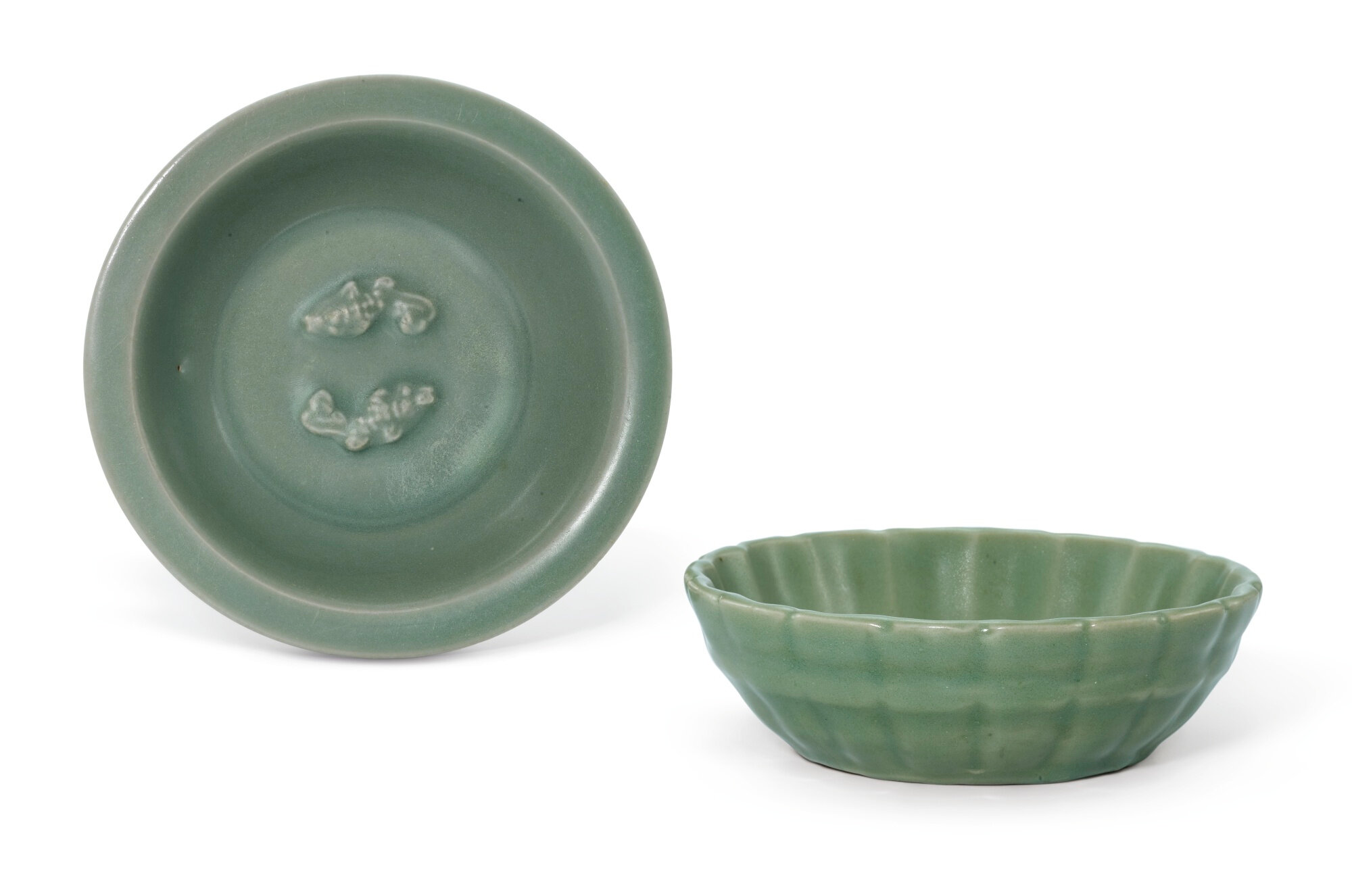 A Longquan celadon washer, Yuan dynasty and a Longquan celadon 'Fish' dish, Song dynasty