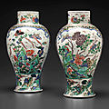 A pair of large famille verte vases, kangxi period (1662-1722)