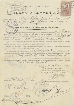 Monument 3 Sièges Grille PV réception Schick 8 août 1913