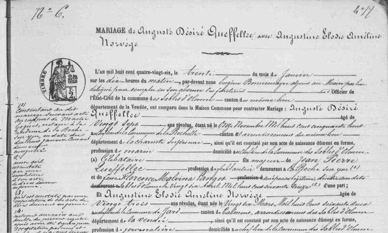 1886 le 30 janvier Les Sables d'Olonne Mariage Auguste Désiré Queffelec_NORVEGE_2