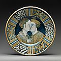 Dish with two lovers, ca. 1520–50, italian, deruta