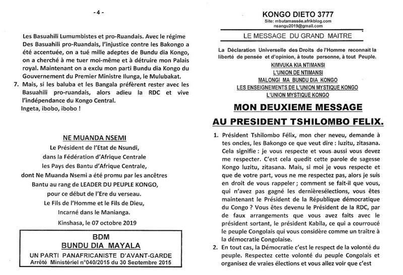 MON DEUXIEME MESSAGE AU PRESIDENT TSHILOMBO FELIX a