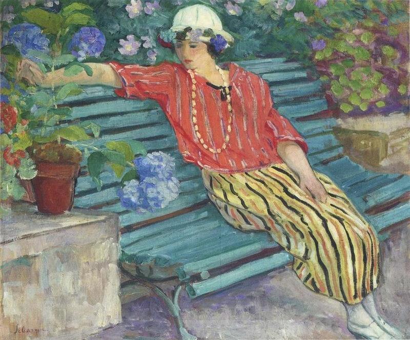 sieste henri lebasque jeune femme assise avec hortensias