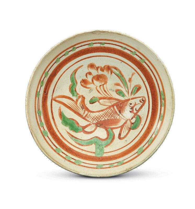 A painted Cizhou polychrome 'Fish' bowl, Jin dynasty, 13th Century