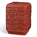A carved cinnabar lacquer tiered box and cover, yuan dynasty