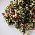 Une pensée pour le liban : salade de moghrabieh façon taboulé libanais ou le taboulé de perles de couscous à la grenade