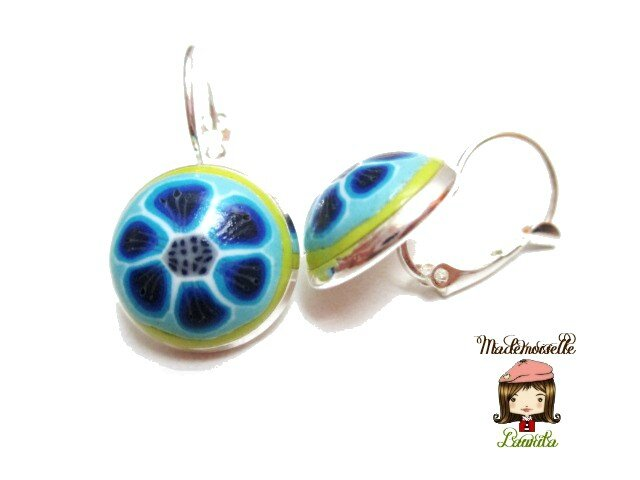 boucles-d-oreilles_fleurs_turquoise_bleu_kiwi_fimo