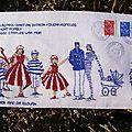 enveloppes brodées et cartes postales