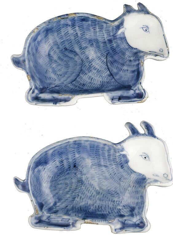 A pair of blue and white kosometsuke sweet meat dishes, Ming Dynasty, Tianqi period (1621-1627)