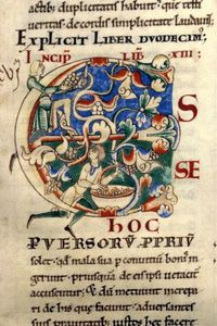MORALIA IN JOB lettre enluminée-BM Dijon-ms0170-f032