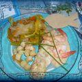 * torsades de sabre et de saumon aux fruits de mer & légumes