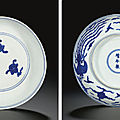 Ming dynasty blue and white porcelains sold at christie's