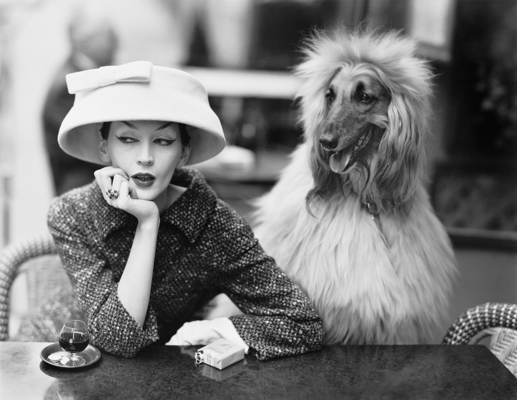 Dovima-with-Sacha-cloche-and-suit-by-Balenciaga-Café-des-Deux-Magots-Paris-1955