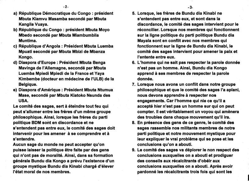 NOMINATION DES CADRES DU COMITE DES SAGES DU PUISSANT MOUVEMENT POLITICO RELIGIEUX BUNDU DIA KONGO b