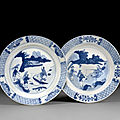 A pair of blue and white porcelain plates, qing dynasty, kangxi period (1662-1722)