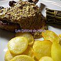 Côtes de porc ibérique (iberico) à la moutarde à l'ancienne