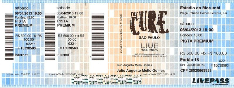 2013 04 The Cure Arena Anhembi SP Billet