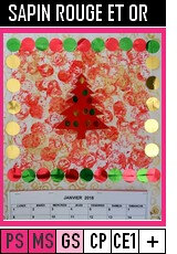 V282 -CALENDRIERS-SAPIN ROUGE ET OR