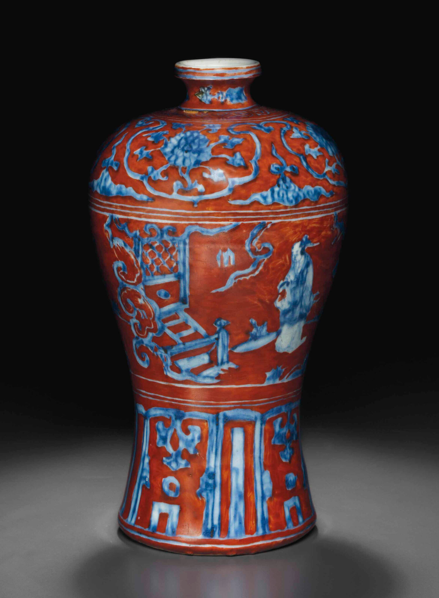An iron-red-ground blue and white vase, meiping, late Ming dynasty, 16th century